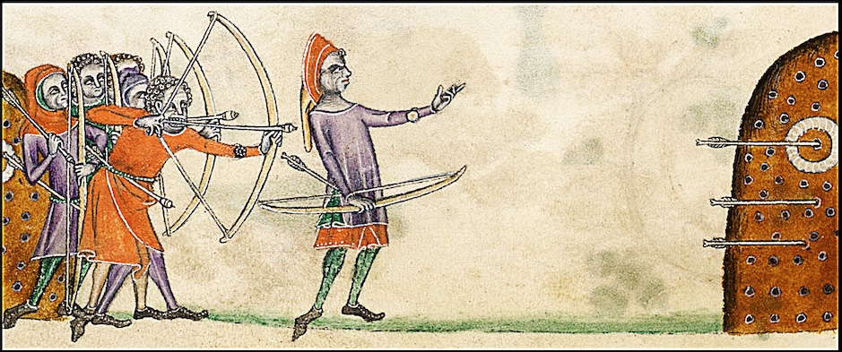 Picture of archers practicing in 14th century England