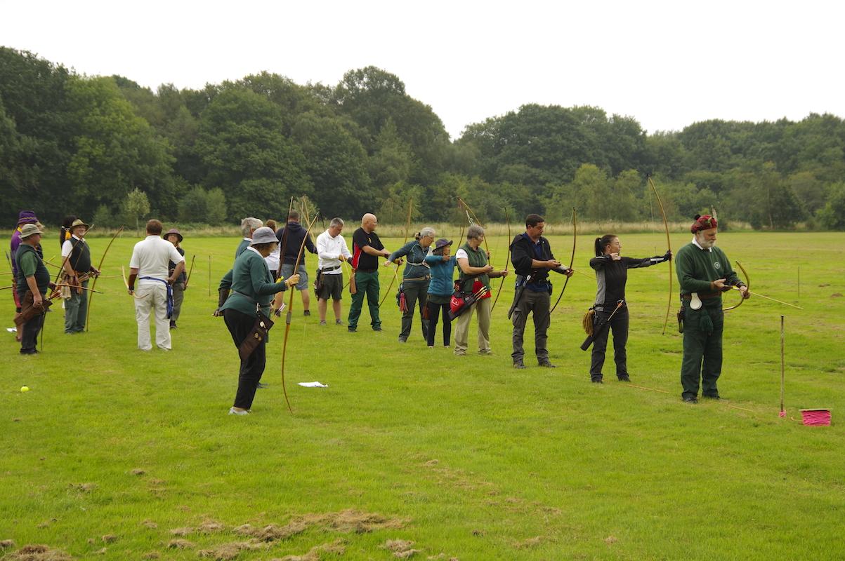 Archers shooting the return arrows